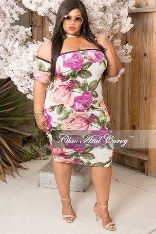 New Plus Size BodyCon Dress with Attached Choker and Off the Shoulder Sleeves in Purple, Olive Green and Off White Floral Print