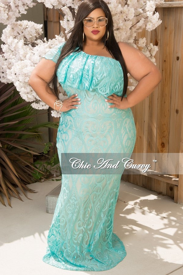 Final Sale Plus Size Lace Gown with One Sleeve in Aqua