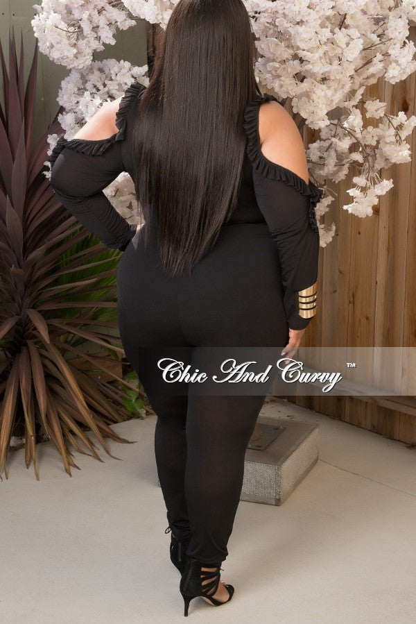 Final Sale Plus Size Sheer Jumpsuit with Ruffled Cutouts in Black