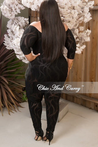 Final Sale Sheer Designed Bodysuit in Black