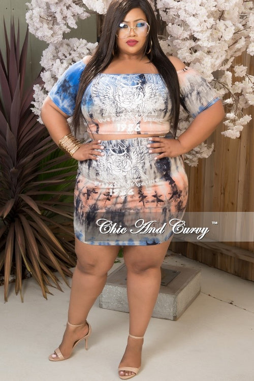 Final Sale Plus Size 2 Piece Set in Royal Blue, Coral and Grey Tie Dye