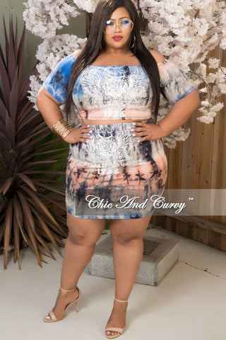 New Plus Size 2 Piece Set in Royal Blue, Coral and Grey Tie Dye