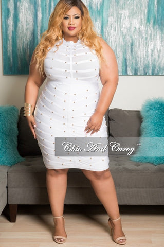 Final Sale Plus Size BodyCon Sleeveless Mesh Panel Dress with Sheer Top in White