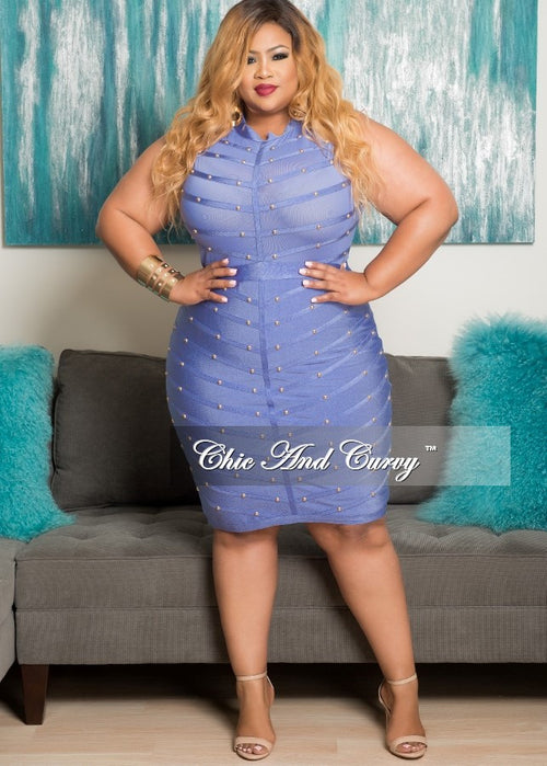 Final Sale Plus Size BodyCon Sleeveless Mesh Panel Dress with Sheer Top in Purple