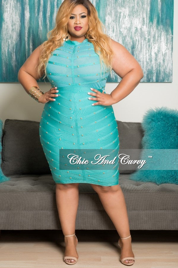 Final Sale Plus Size BodyCon Sleeveless Mesh Panel Dress with Sheer Top in Jade