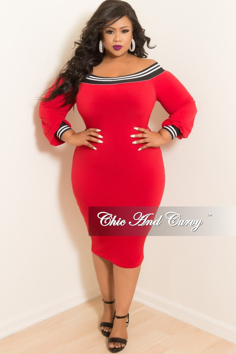 New Plus Size Off the Shoulder Dress in Red with White and Black Trim