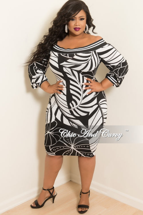 Final Sale Plus Size Off the Shoulder Dress in Black and White Leaf Print