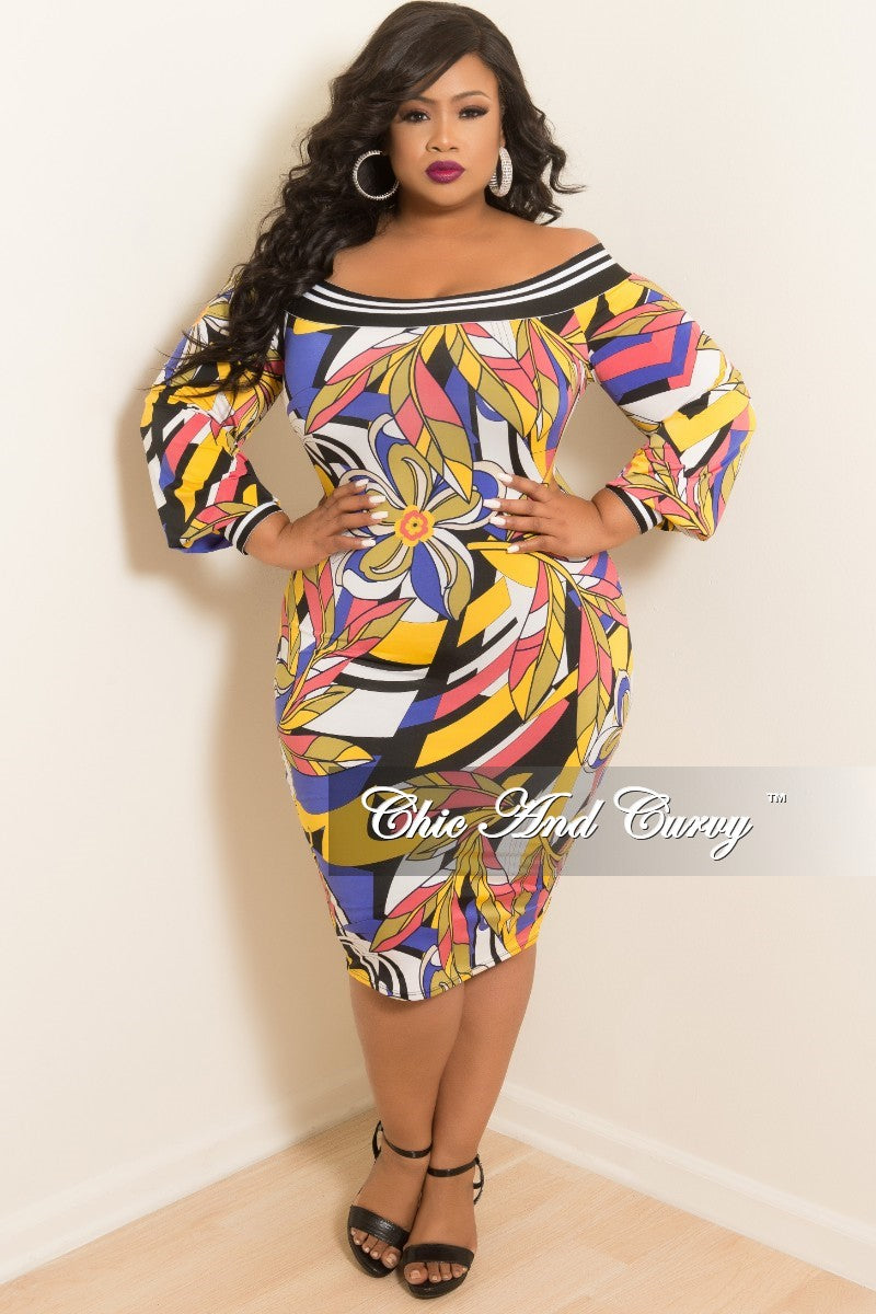 b12d5367a1a0 Final Sale Plus Size Off the Shoulder Dress in Yellow and Lavender Mul –  Chic And Curvy