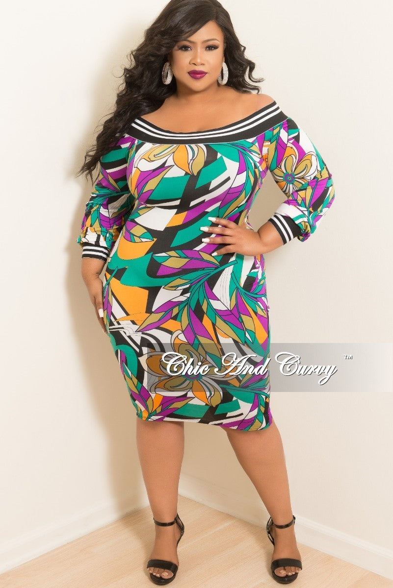 ca9ee94ca157 New Plus Size Off the Shoulder Dress in Purple and Green Multi Color P –  Chic And Curvy