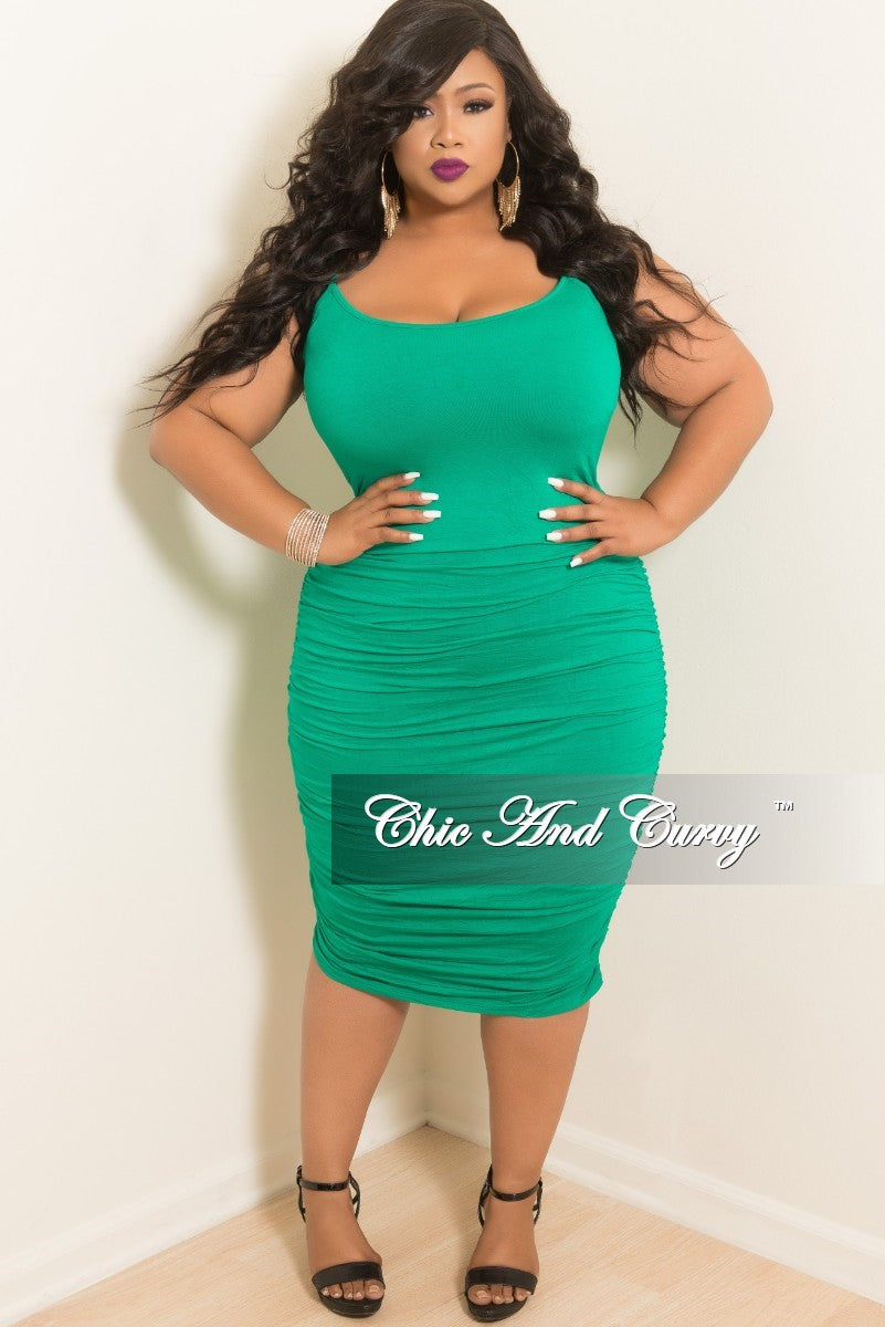 Final Sale Plus Size Spaghetti Strap BodyCon Dress with Ruched Sides in Green