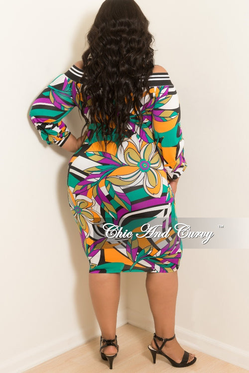 Final Sale Plus Size Off the Shoulder Dress in Purple and Green Multi Color Print