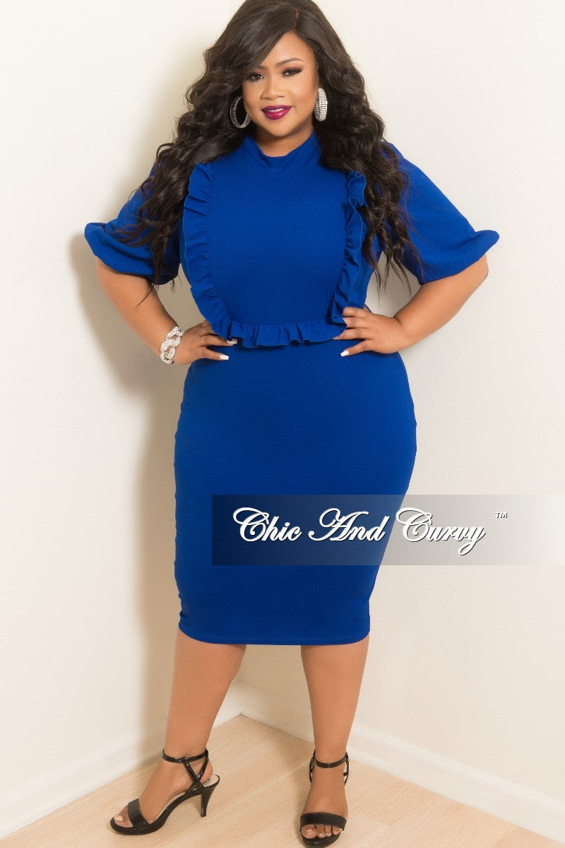 New Plus Size BodyCon Dress with Ruffle Trim and Back Gold Zipper in Royal Blue