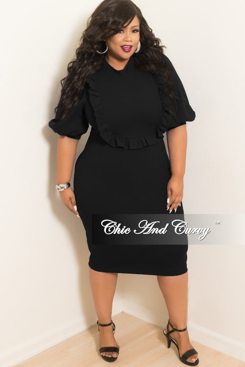 1d1cc66477a Final Sale Plus Size BodyCon Dress with Ruffle Trim and Back Gold Zipper in  Black