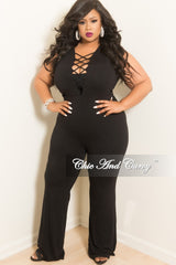 Final Sale Plus Size Sleeveless Jumpsuit with Front Criss-Cross Deep V and Back Gold Zipper in Black