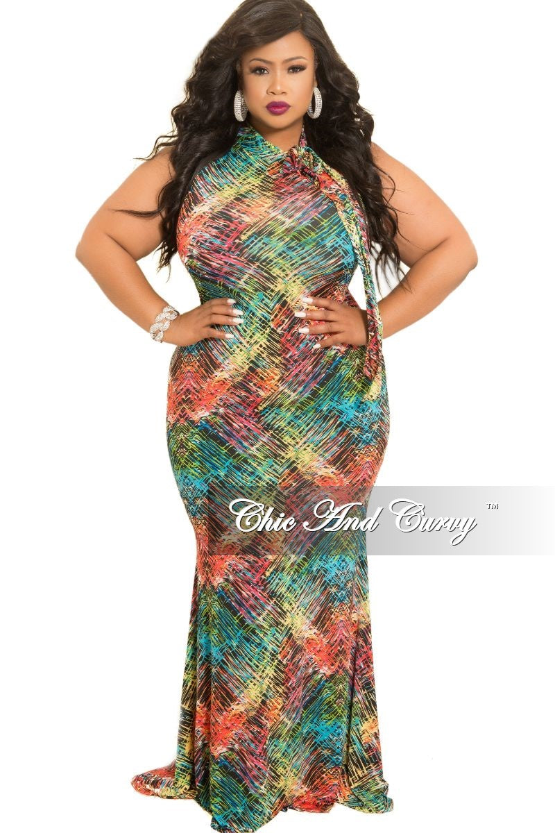 Final Sale Plus Size Sleeveless Bodycon Maxi Dress with Neck Tie in Multi Colored Print