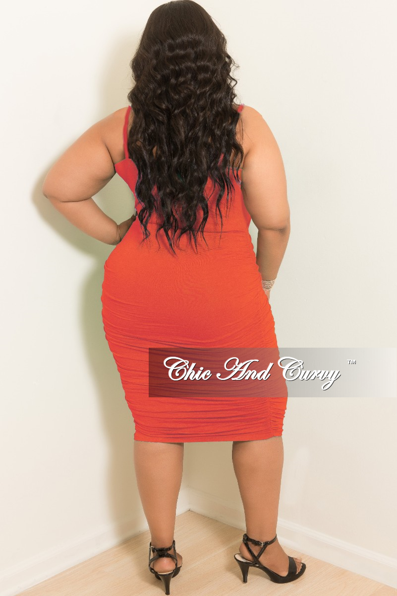 Final Sale Plus Size Spaghetti Strap BodyCon Dress with Ruched Sides in Coral
