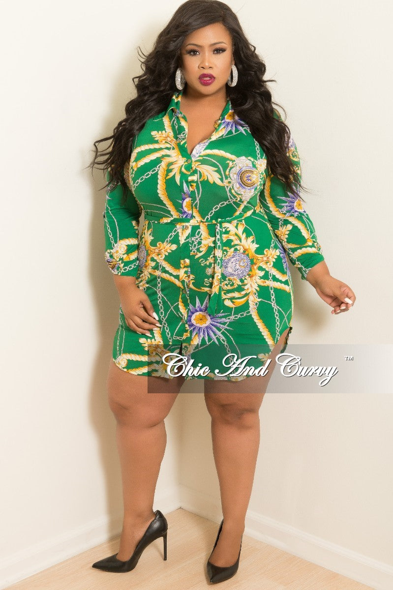 New Plus Size Button Up Collar Dress with Attached Tie Green Purple and Yellow