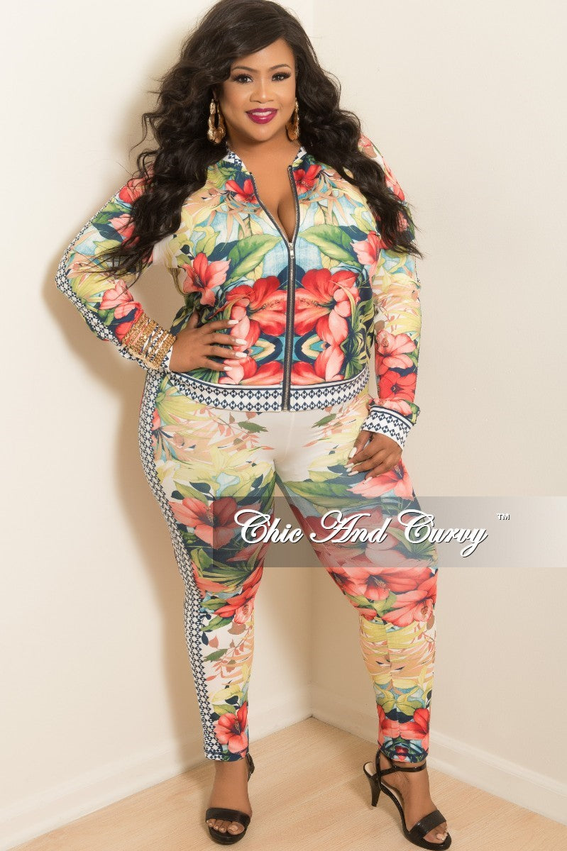 New Plus Size 2-Piece Jacket and Pants Set in Lime Green and Red Floral Print