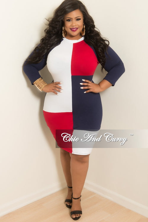 Final Sale Plus Size Long Sleeve Short Dress in White Red and Navy