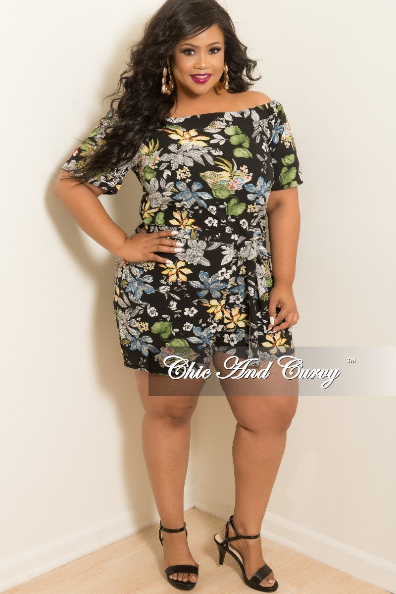 8b022681b42 Final Sale Plus Size Off the Shoulder Romper in Black Floral Print – Chic  And Curvy