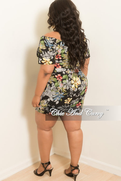 Final Sale Plus Size Off the Shoulder Romper in Black Floral Print
