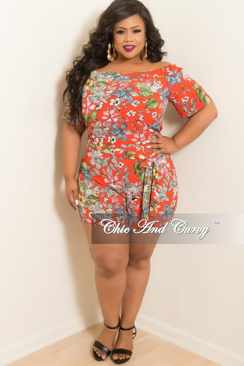Final Sale Plus Size Off the Shoulder Romper in Red Floral Print
