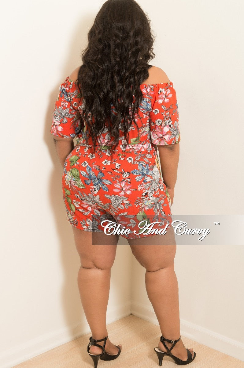 New Plus Size Off the Shoulder Romper in Red Floral Print