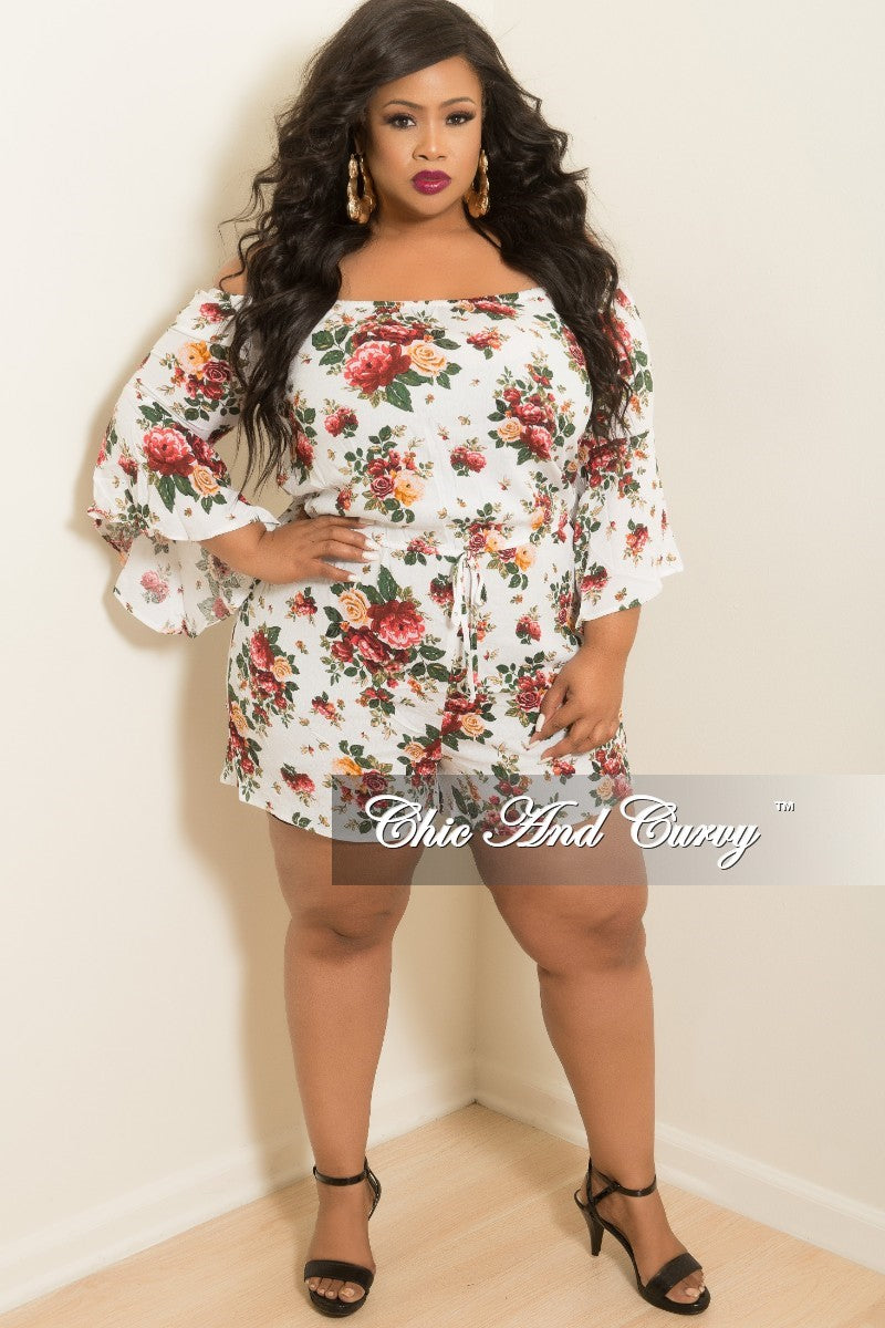 68fd0eebc9579 Final Sale Plus Size Off the Shoulder Bell Sleeve Romper in White Flor –  Chic And Curvy