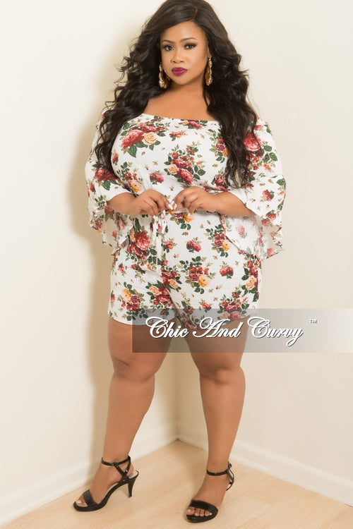 Final Sale Plus Size Off the Shoulder Bell Sleeve Romper in White Floral Print