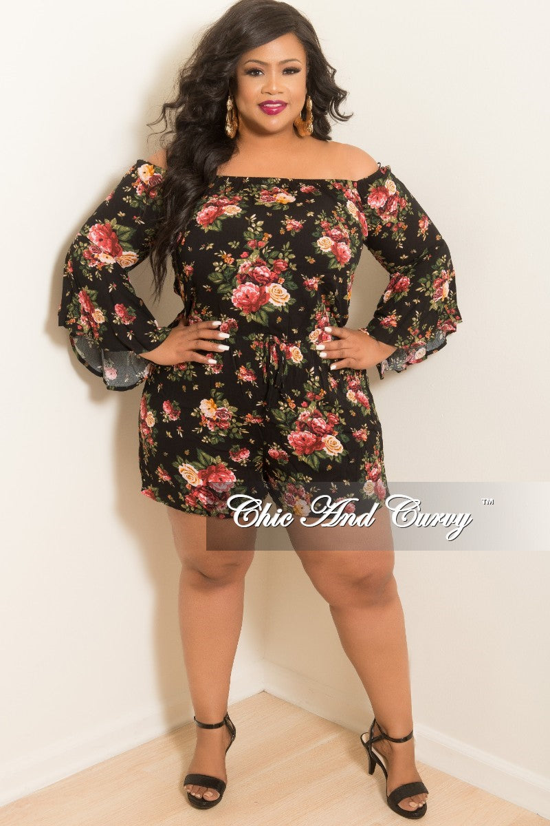 433bfe17bf6 Final Sale Plus Size Off the Shoulder Bell Sleeve Romper in Black Flor –  Chic And Curvy