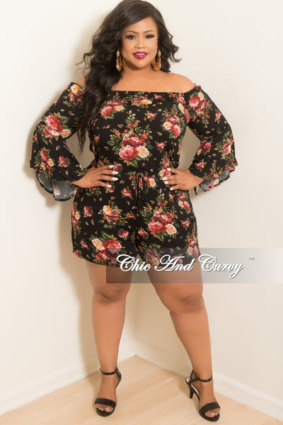 Final Sale Plus Size Off the Shoulder Bell Sleeve Romper in Black Floral Print