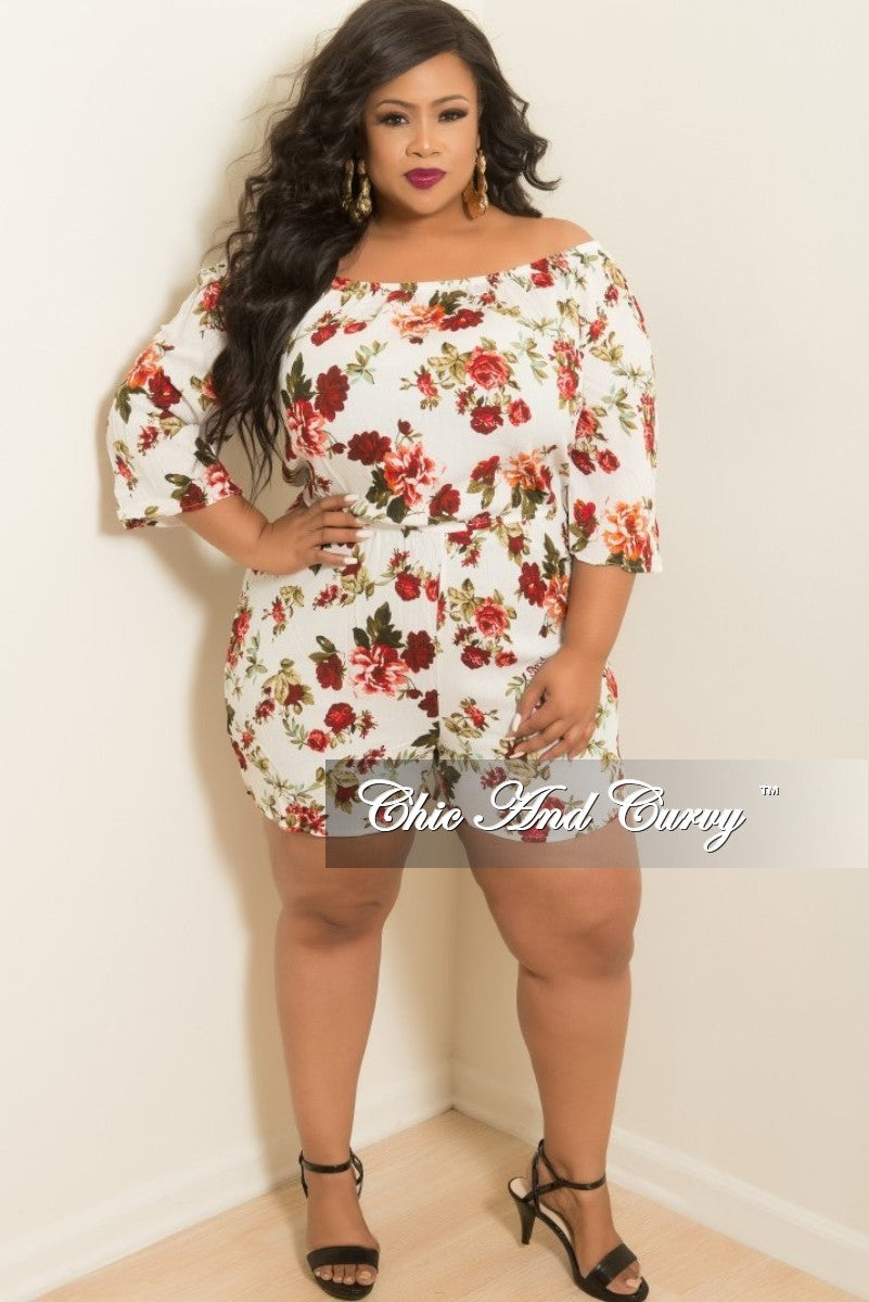 94dbd3fcb3af Final Sale Plus Size Off the Shoulder Romper in White Floral Print – Chic  And Curvy