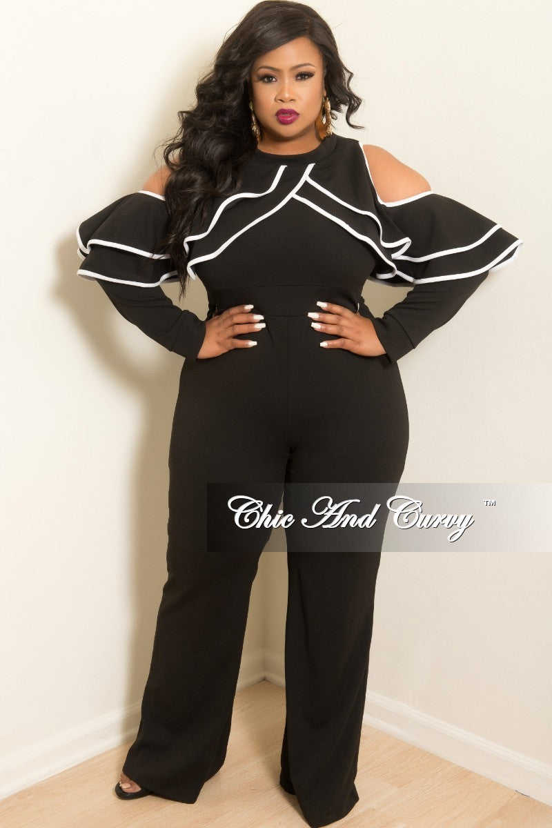 New Plus Size Cold Shoulder Ruffle BodyCon Jumpsuit in Black with White Trim