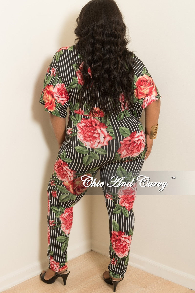 New Plus Size Floral Printed Stripe Faux Wrap Jumpsuit in Red Green Black and White