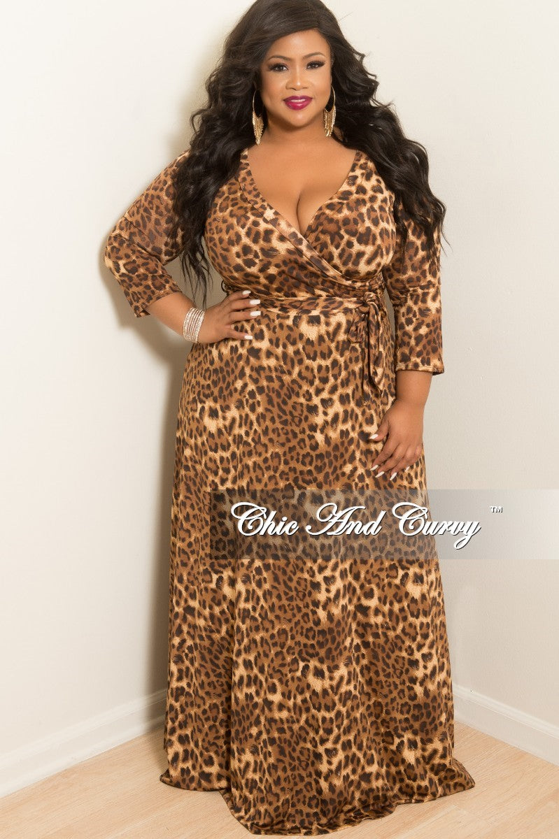5106c23d5892 Final Sale Plus Size Faux Dress with 3 4 Sleeves and Attached Tie in C –  Chic And Curvy