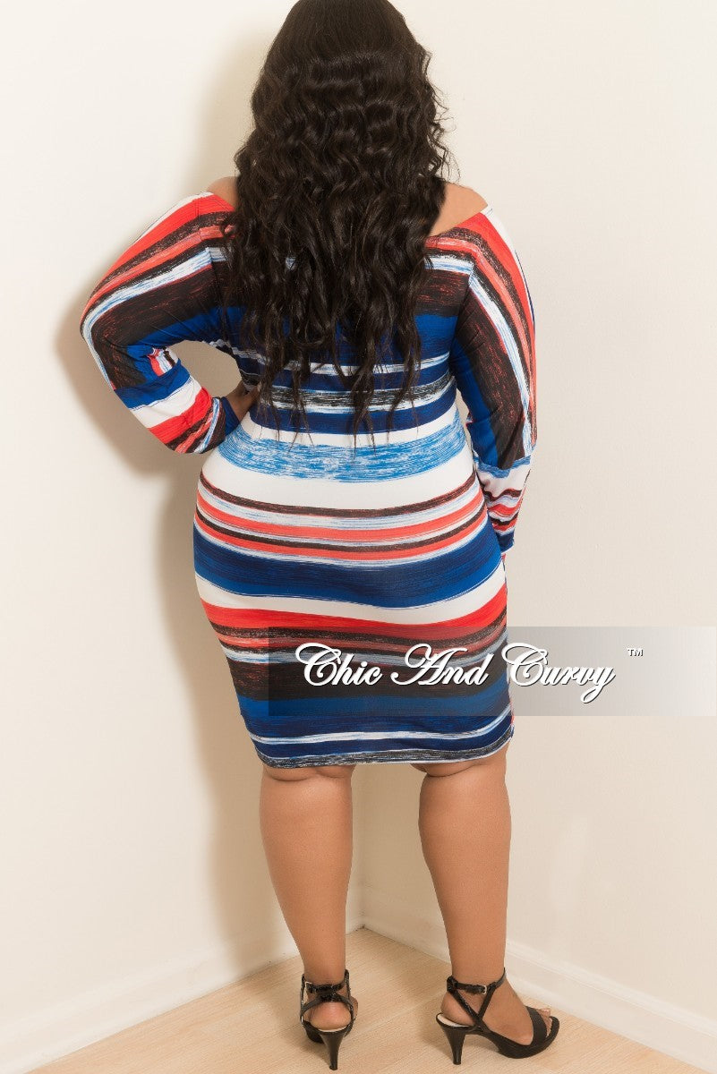 New Plus Size Off the Shoulder Striped BodyCon Dress with Attached Tie in Red Royal Blue White and Black
