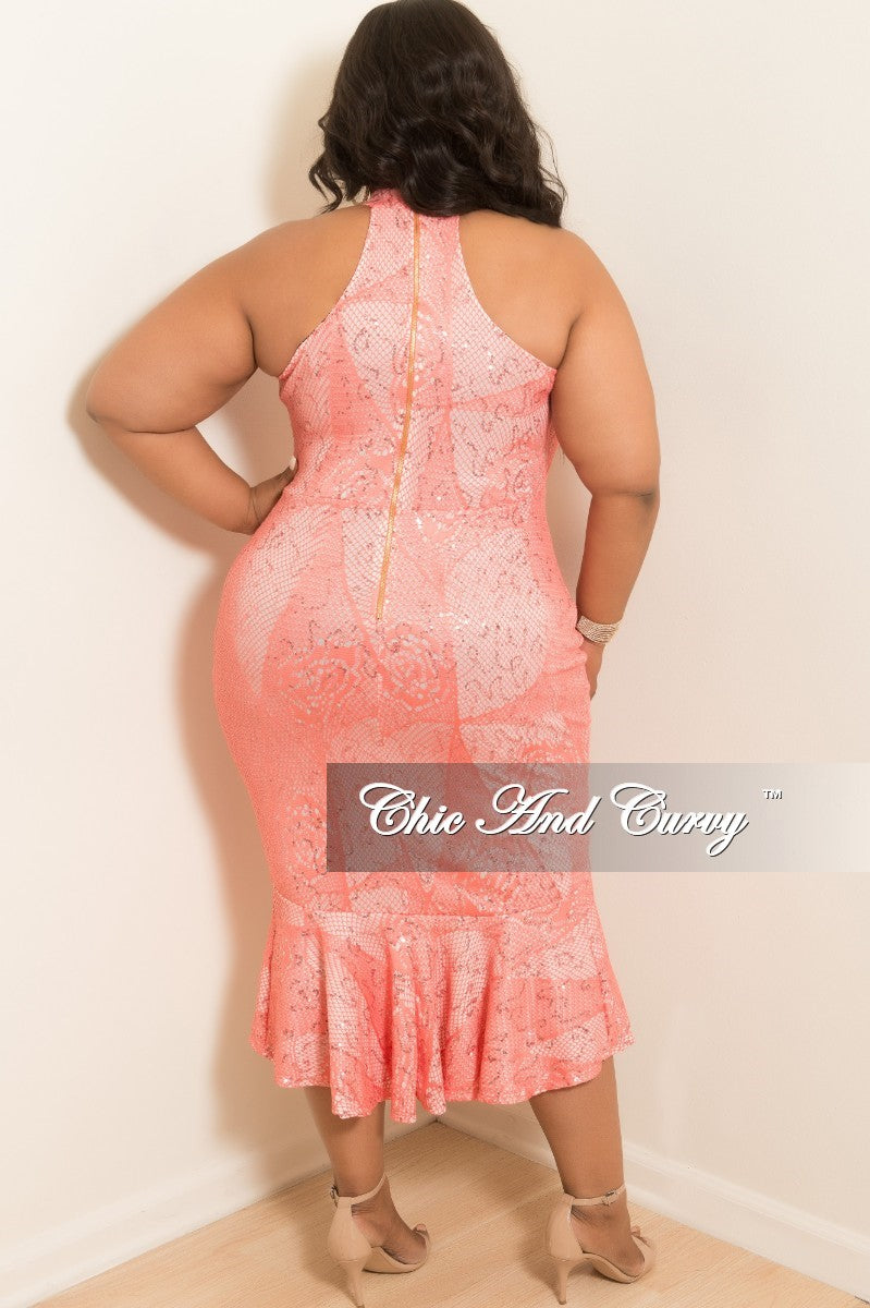 New Plus Size Sequin Sleeveless Lace Dress with Bottom Ruffle and Back Zipper in Coral
