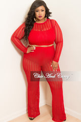 Final Sale Plus Size Long Sleeve Mesh Jumpsuit in Red
