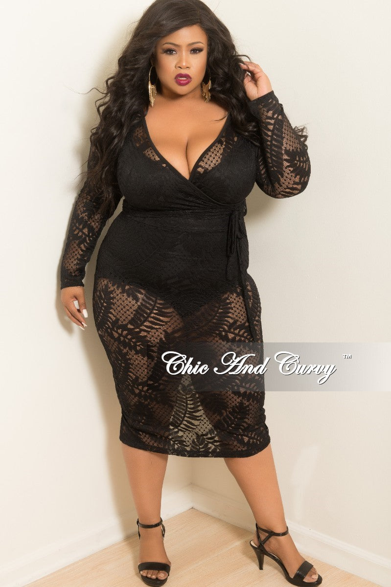 Final Sale Plus Size Lace Faux Wrap Dress with Attached Tie in Black