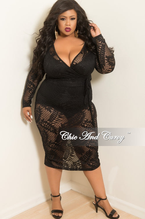 New Plus Size Lace Faux Wrap Dress with Attached Tie in Black
