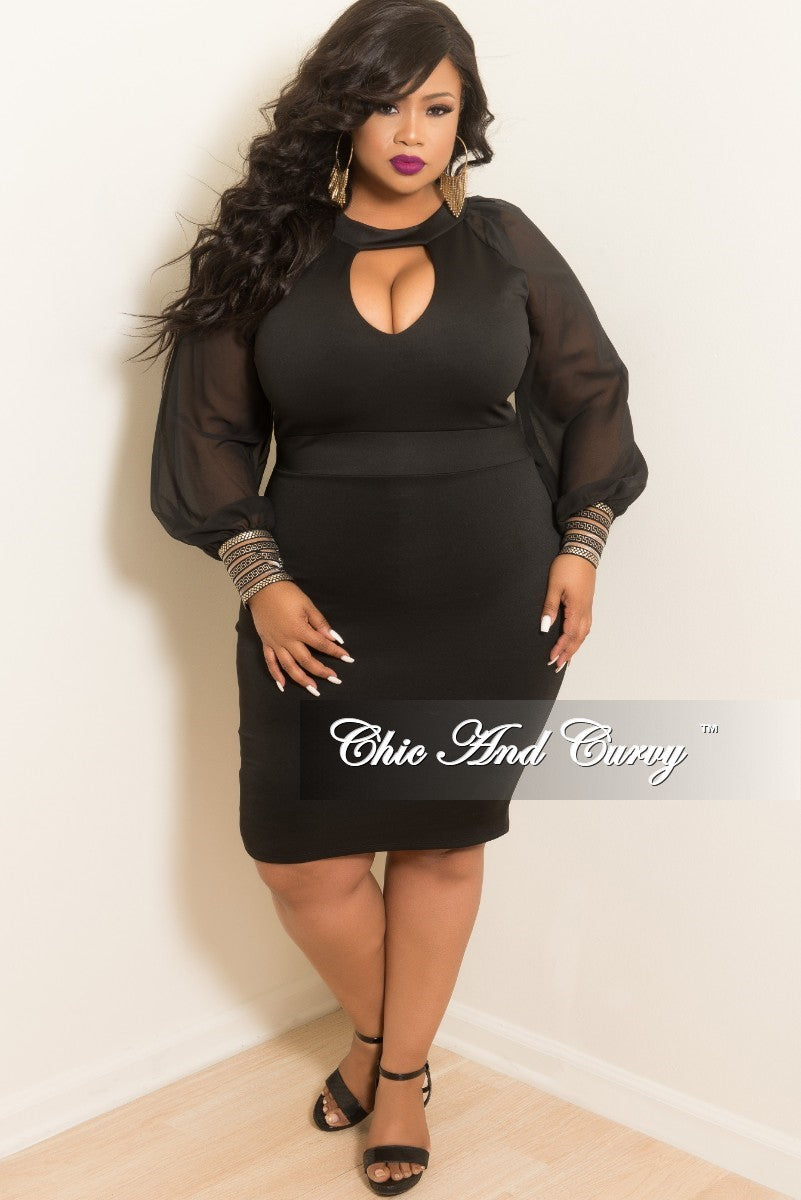 Final Sale Plus Size BodyCon Dress with Chiffon Sleeves, Gold Cuffs, &  Front Cutout in Black