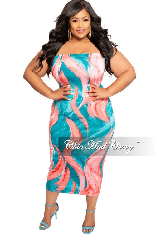 b5ea058828 New Plus Size BodyCon Tube Dress in Teal Red and Pink Brush Print