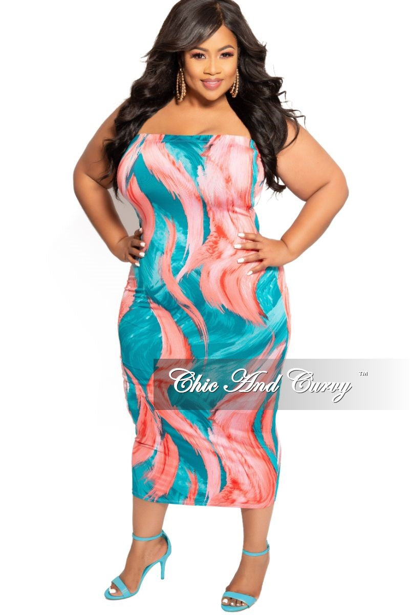 New Plus Size BodyCon Tube Dress in Teal Red and Pink Brush Print