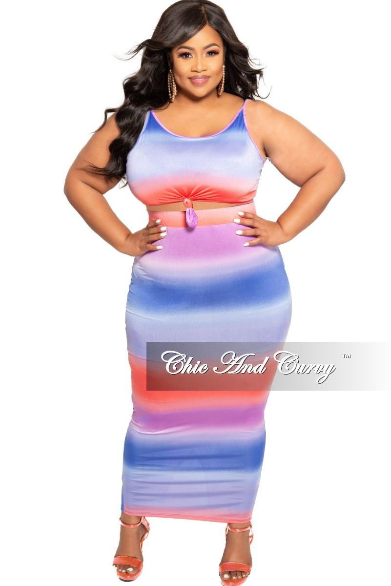 New Plus Size 2-Piece Knotted Crop Top and Skirt Set in Navy Purple and Red Tie Dye Print
