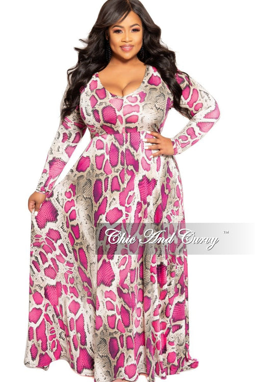 New Plus Size Long Sleeve Gown with V-Neck in Fuchsia Snake Skin Print