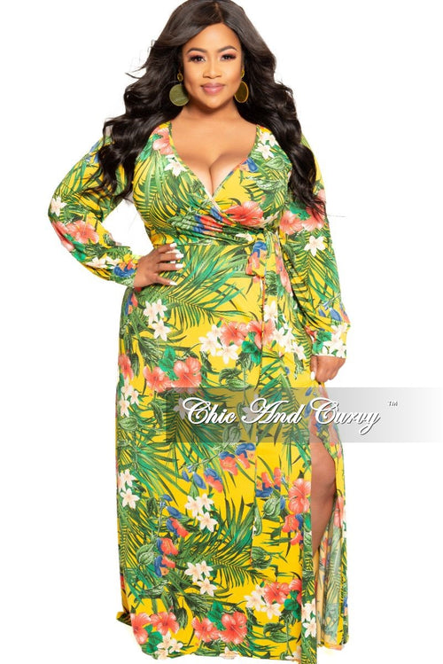 New Plus Size Long Sleeve Faux Wrap Dress in Yellow Multi Color Floral Print