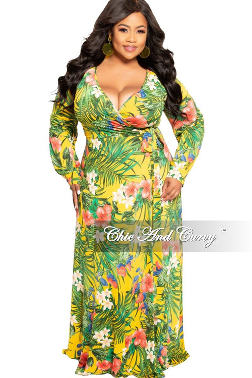 New Plus Size Faux Wrap Maxi Dress in Yellow Multi Color Floral Print