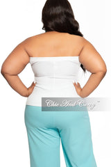 Final Sale Plus Size Ribbed Tube Top in White
