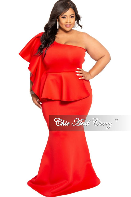 New Plus Size One Sided Ruffle Peplum Gown with Side Zipper in Red