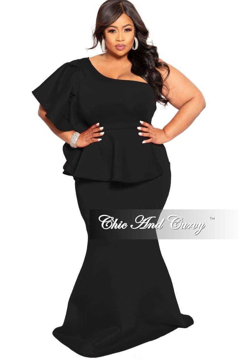 New Plus Size One Sided Ruffle Peplum Gown with Side Zipper in Black